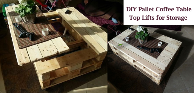 pallet coffee table, top lifts for storage- DIYscoop.com