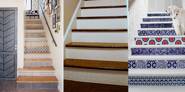 3 ways to update your stairs with wallpaper- DIYscoop.com