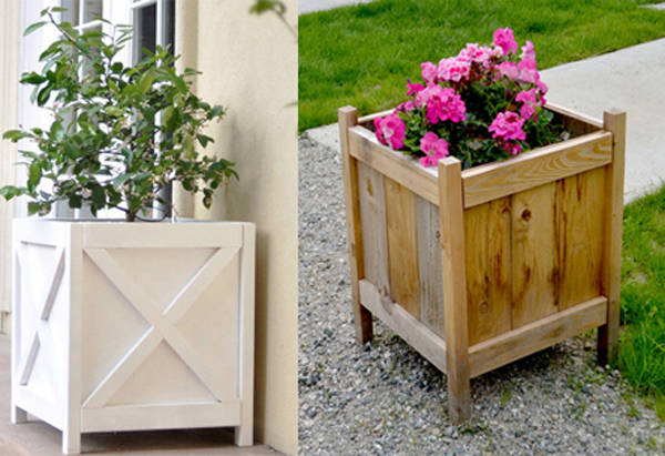 DIY outdoor wooden planters- DIYscoop.com