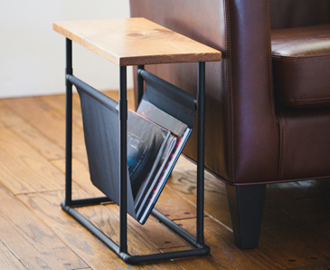 Small Side Table With Hanging Magazine Rack