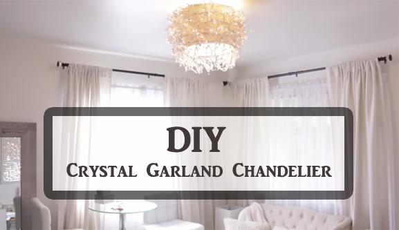 DIY crystal garland chandelier- DIYscoop.com