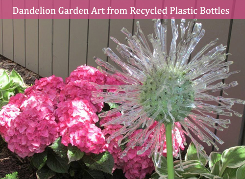 dandelion garden art from recycled plastic bottles- DIYscoop.com