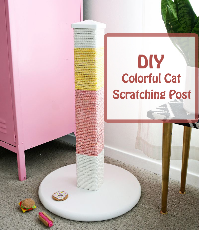 diy colorful cat scratching post- DIYscoop.com