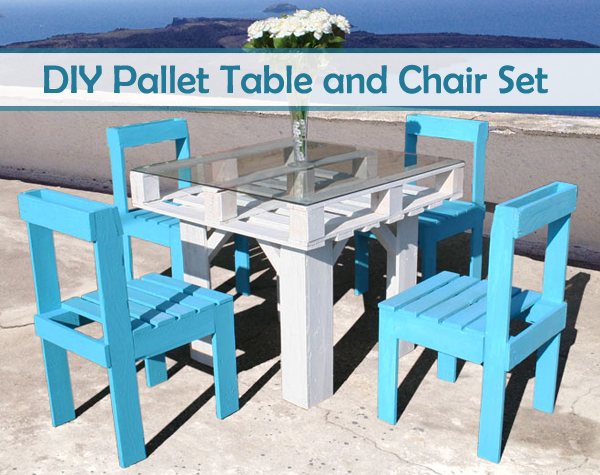 diy pallet table and chair set- DIYscoop.com