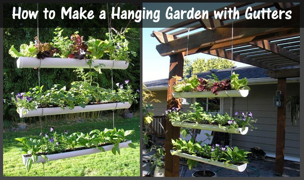 how to make a hanging garden with gutters- DIYscoop.com