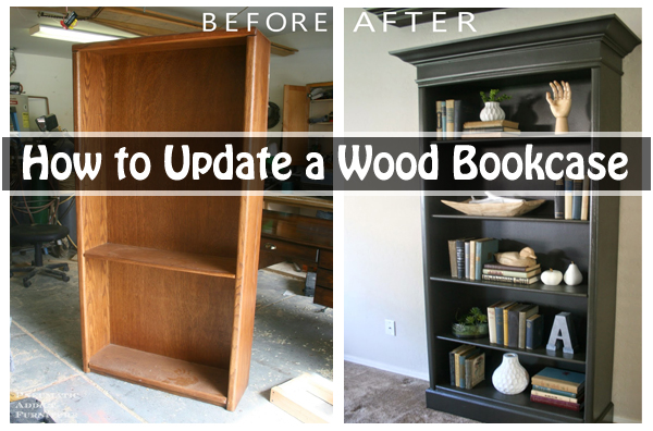 how to update a wood bookcase- DIYscoop.com