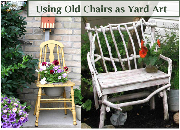 ideas for using old chairs for yard art- DIYscoop.com