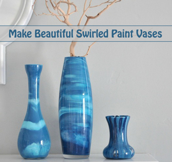 make beautiful swirled paint vases- DIYscoop.com