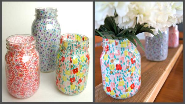 spring mason jar vases- DIYscoop.com