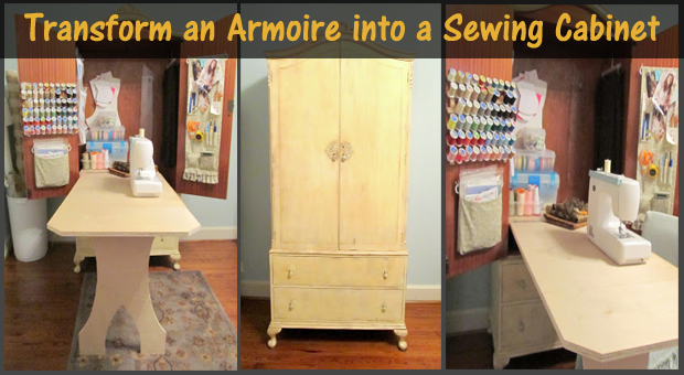 transform an armoire into a sewing cabinet- DIYscoop.com