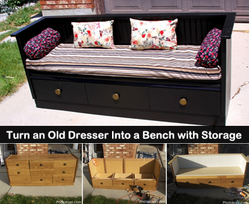 turn an old dresser into a bench - DIYscoop.com