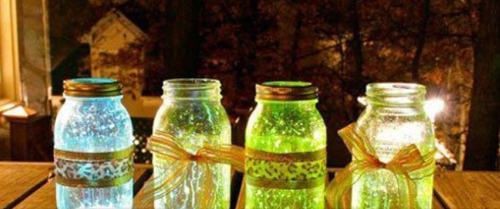 colored glow jars with glitter