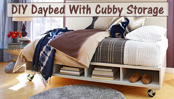 diy daybed with cubby storage- DIYscoop.com