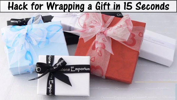 hack for wrapping a gift in 15 seconds- DIYscoop.com