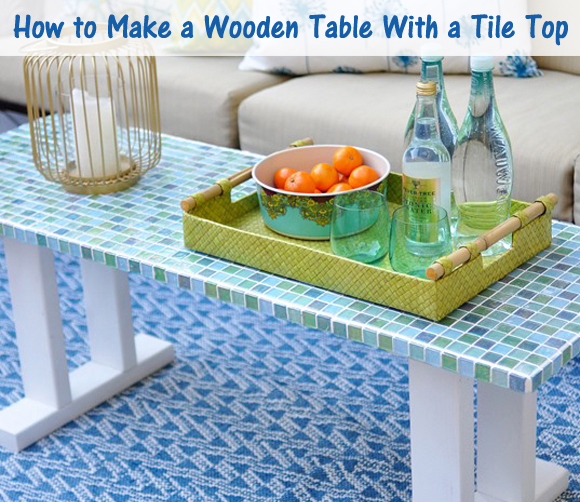 how to make a wooden table with a tile top- DIYscoop.com