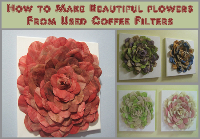 how to make beautiful flowers from used coffee filters- DIYscoop.com