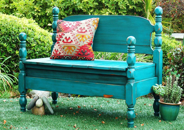 make a bench from an old wood bed frame