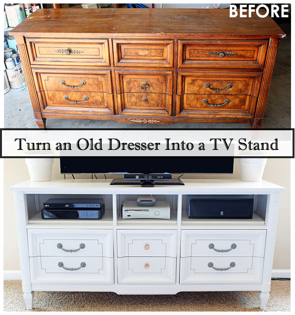 turn an old dresser into a tv stand- DIYscoop.com