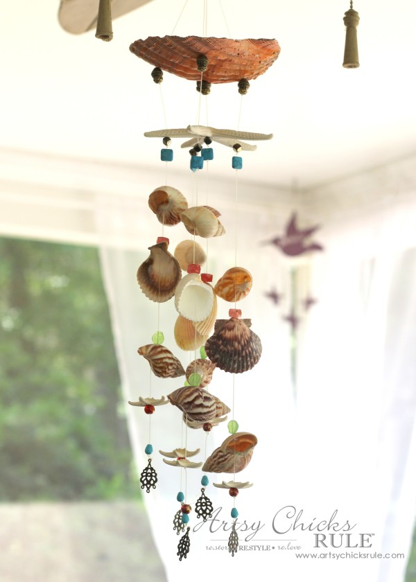 Remember that beach vacation with diy shell windchimes for Shell wind chimes diy
