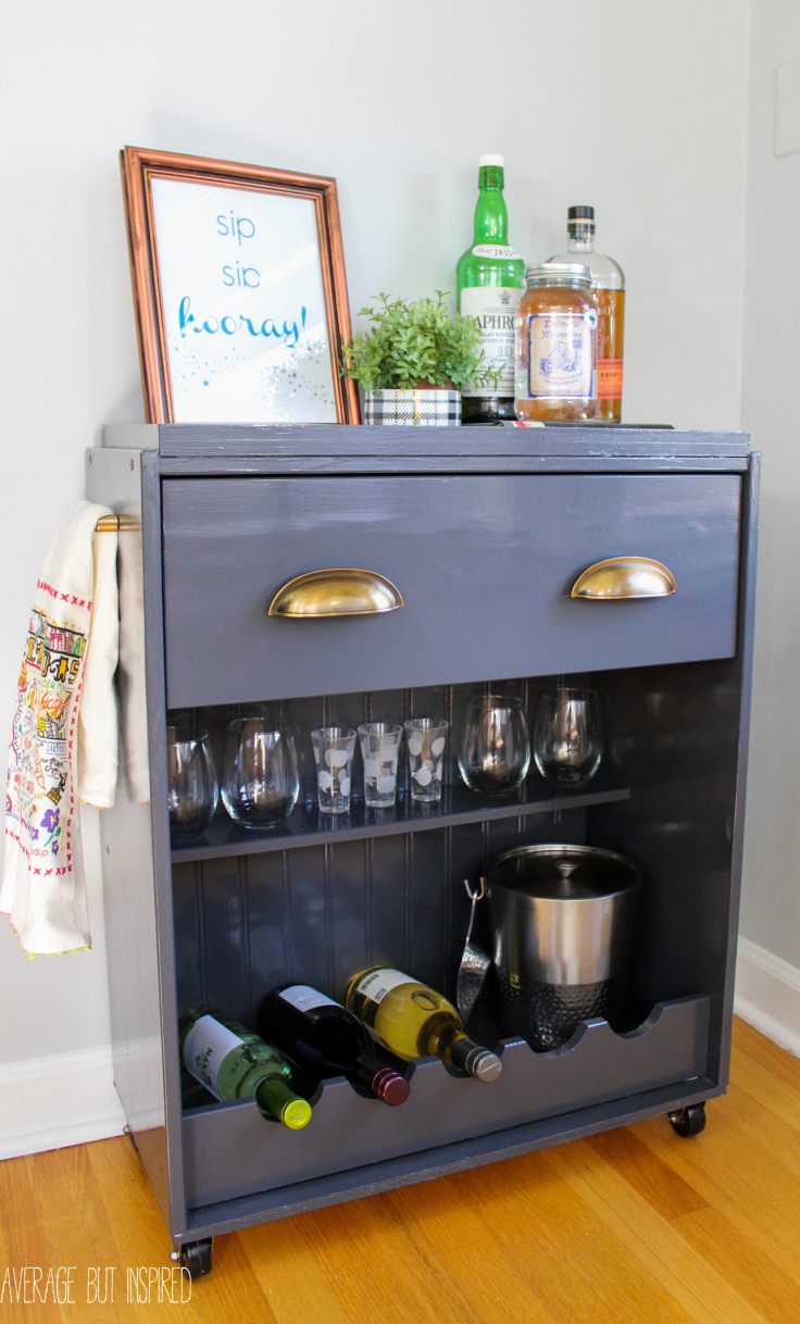 Diy lovely wine cart from an ikea dresser diy scoop for Ikea wine bar