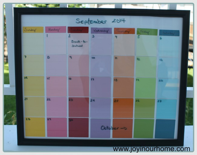 Diy Calendar With Paint Samples : An adorable dry erase calendar from paint chip samples diy