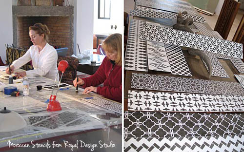 stenciling-stair-risers