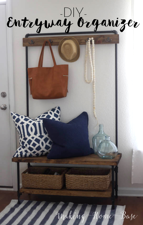Wood And Pipe Doorway Bench And Coat Rack From West Elm