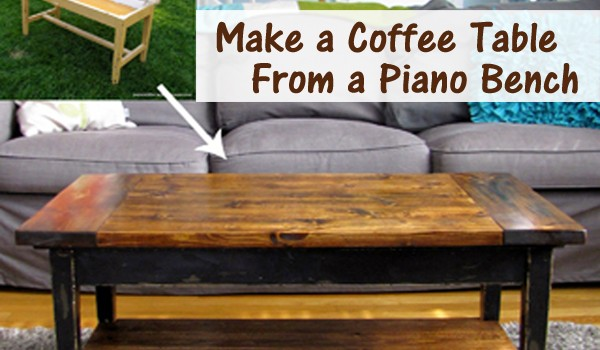make a coffee table from a piano bench- DIYscoop.com