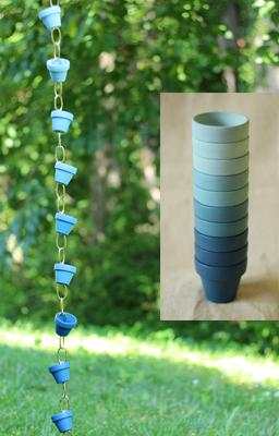 ombre clay pot rain chain- DIYscoop.com